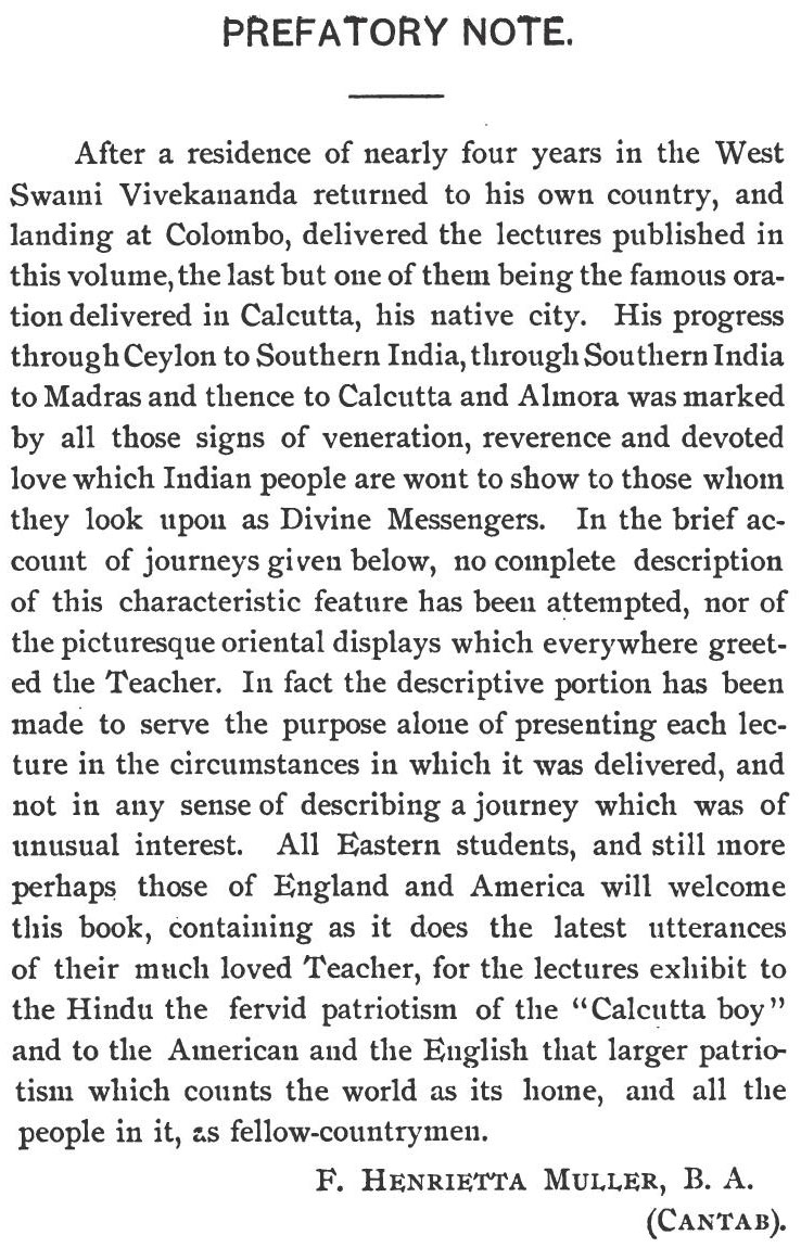 Preface - Lectures from Colombo to Almora